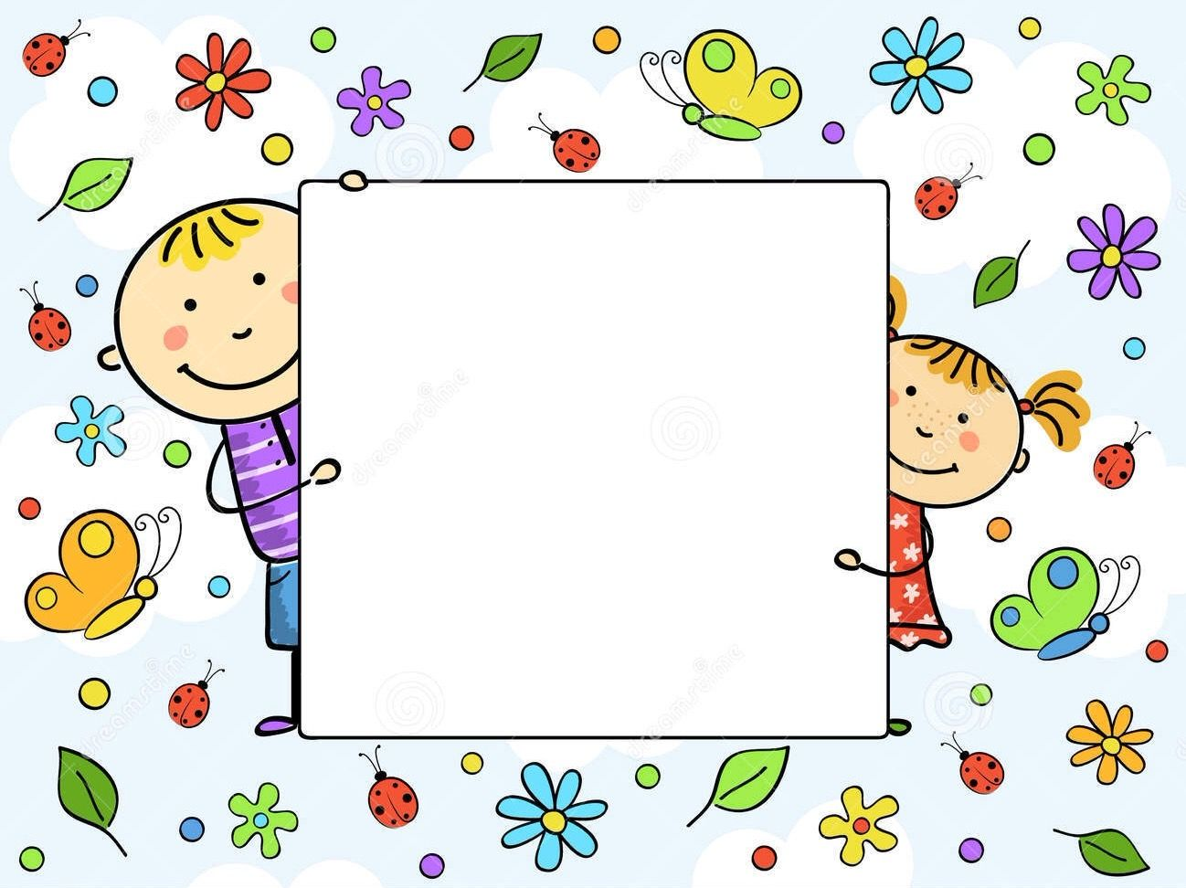 Boy and girl holding a white sheet. Children with a frame surrounded ...