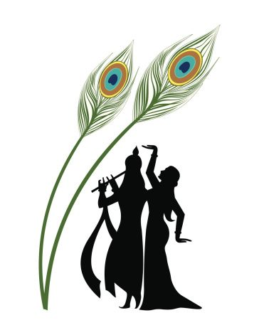 Image result for krishna with flute and peacock