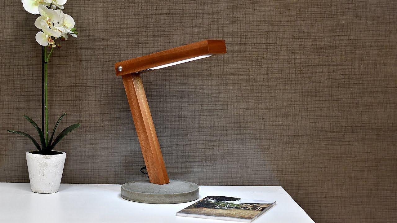 Thanks For Watching If You Like What I Do Support Me At Https X2f X2f Www Patreon Com X2f Diycreators View A Wooden Desk Lamp Led Desk Lamp Concrete Lamp