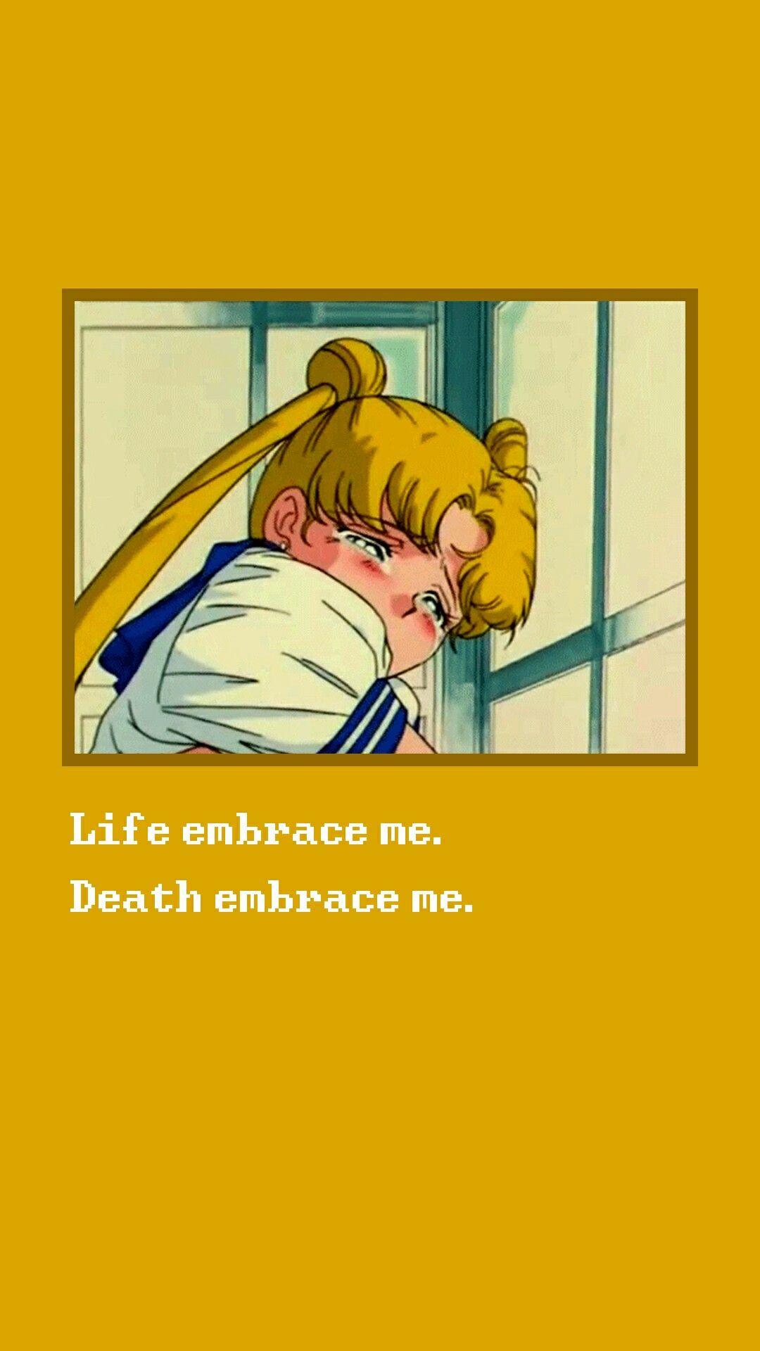 aesthetic backgrounds anime yellow