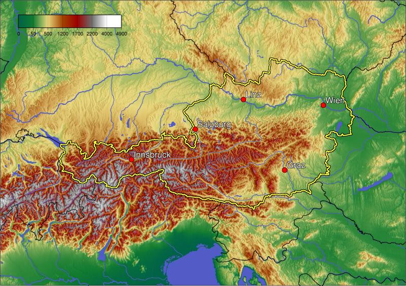 ausztria domborzati térkép Térkép: Ausztria szerkezeti domborzati térképvázlata és  ausztria domborzati térkép