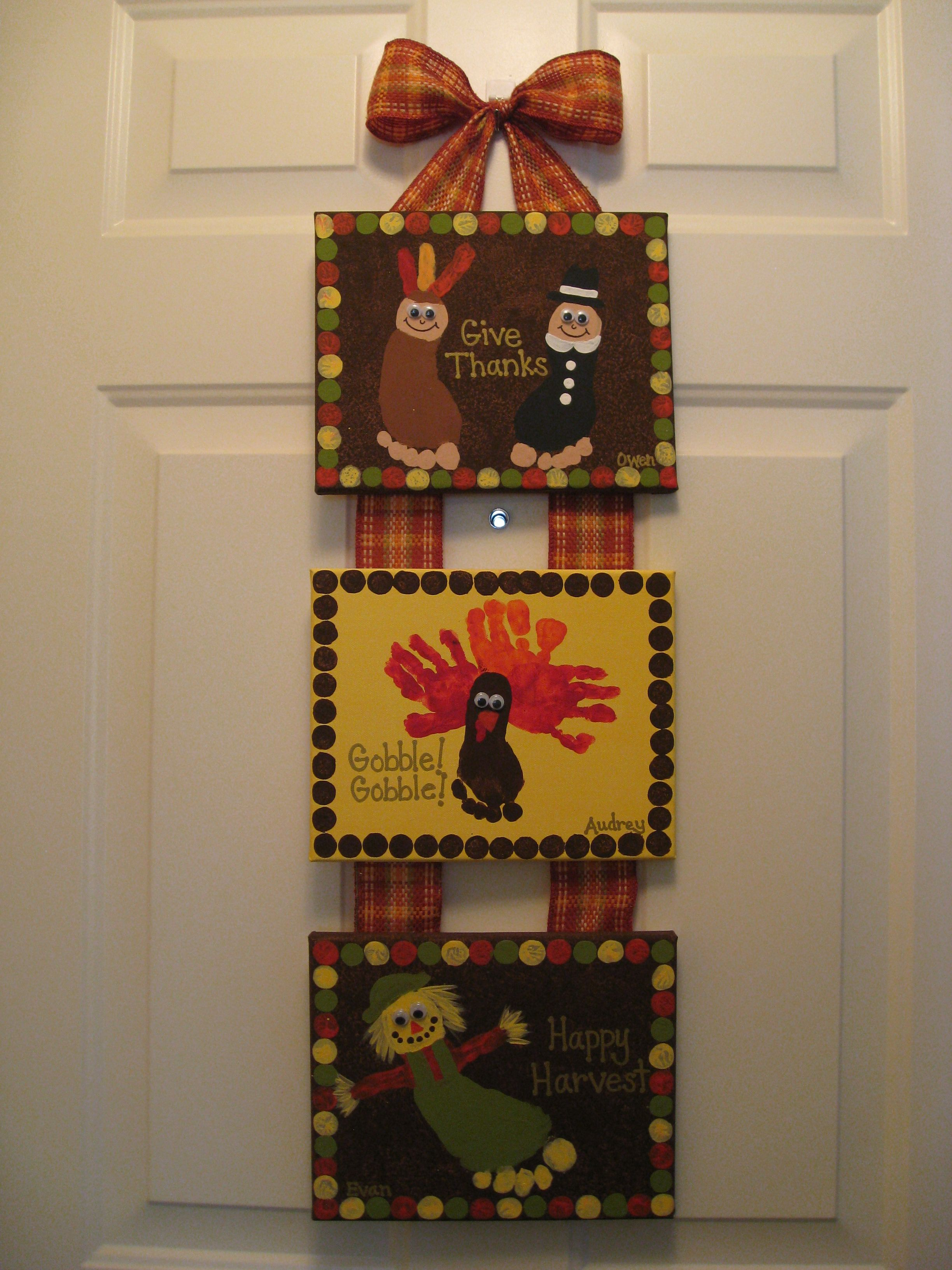 Canvas Craft Ideas For Kids Part - 37: Thanksgiving Handprint U0026 Footprint Canvas Craft