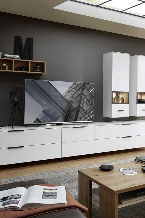 Moderne Design Wohnwand In Weiss In 2020 Wohnen Wohnzimmer Modern Wohnung Wohnzimmer