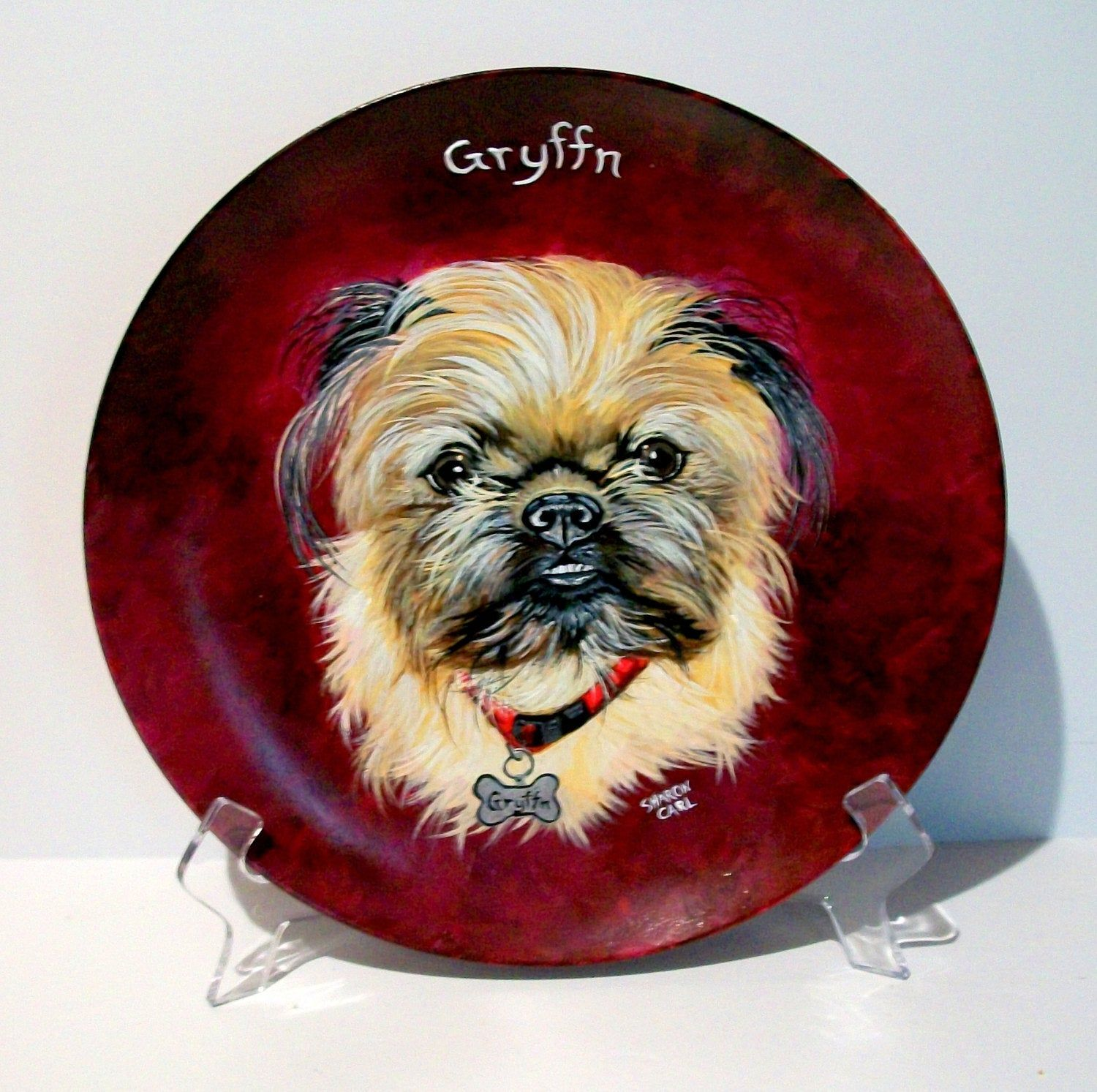 Pet Portraits  Hand Painted of Your Dog or Cat or Horse Pet Lover Pets Portrait Personalized on a 10.5 Inch Plate Custom