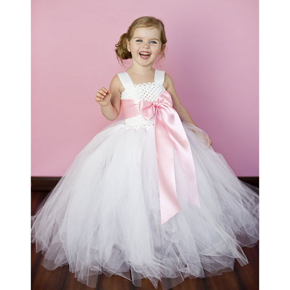 6 Color de La Cinta Arco 2Y-8Y Blanco Niña De las Flores Del Vestido ...