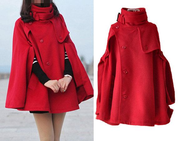 red cape Wool Cape Cashmere coat double breasted button coat ...