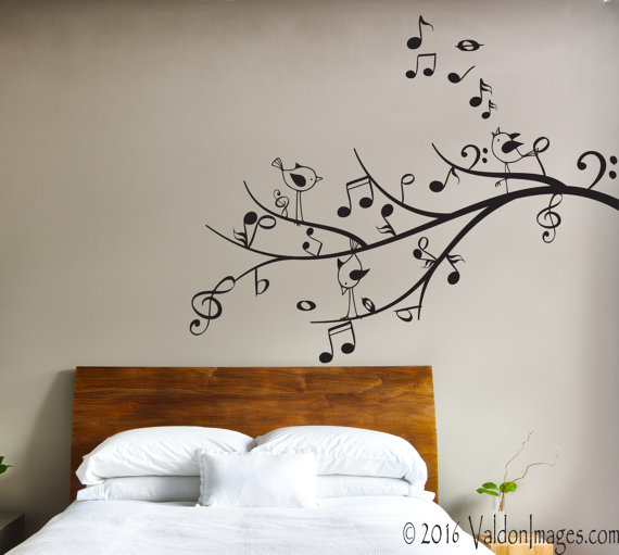 Music Tree Wall Decal Bird Wall Decal Living Room Wall Decal Tree Wall Decal Music Note Decoracao De Parede Ideias De Decoracao Decoracao Com Fita Isolante