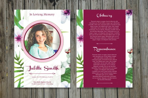 Funeral Program Template 5x7 Funeral Card Template Memorial
