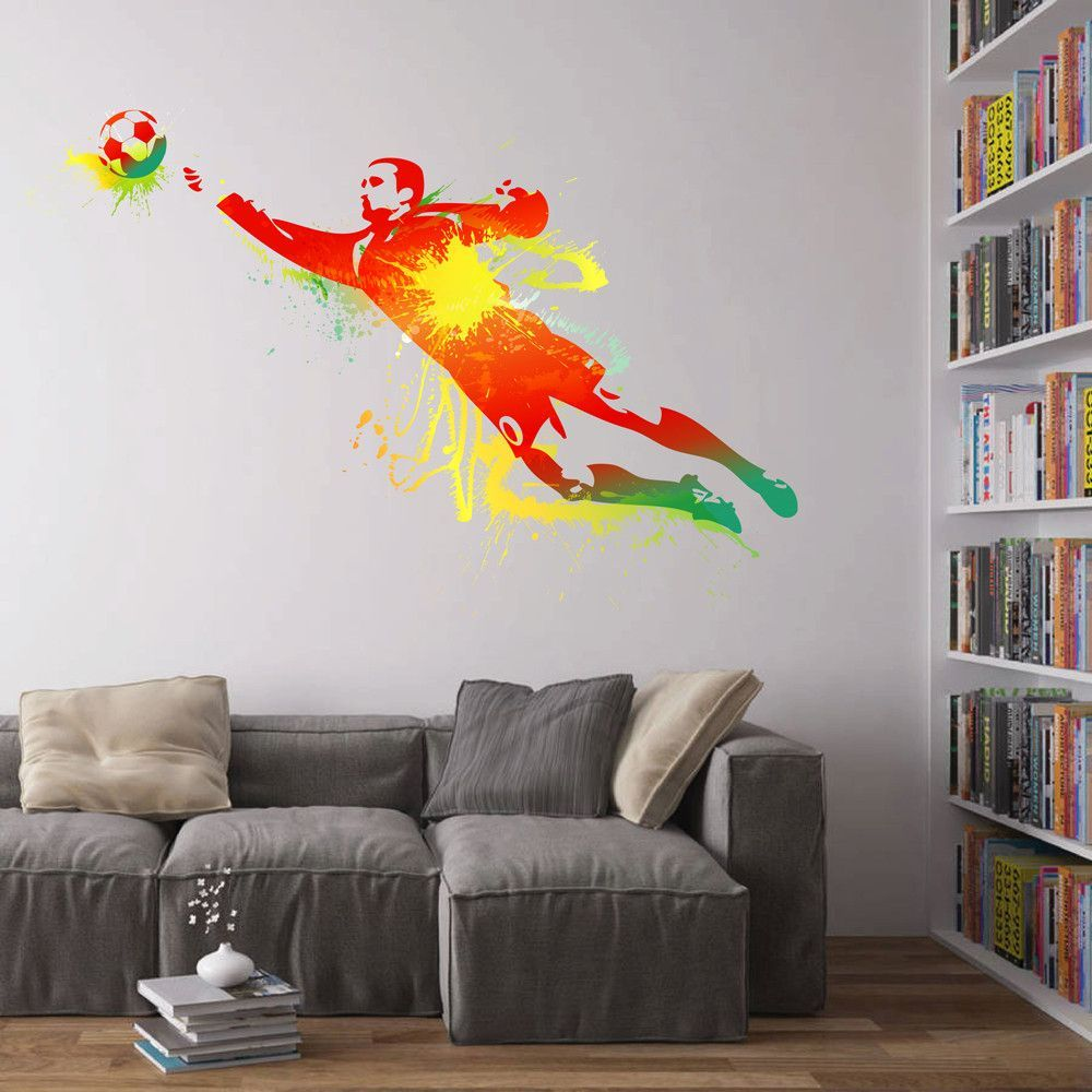 cik110 full color wall decal soccer football ball sport on wall stickers for hall id=43484