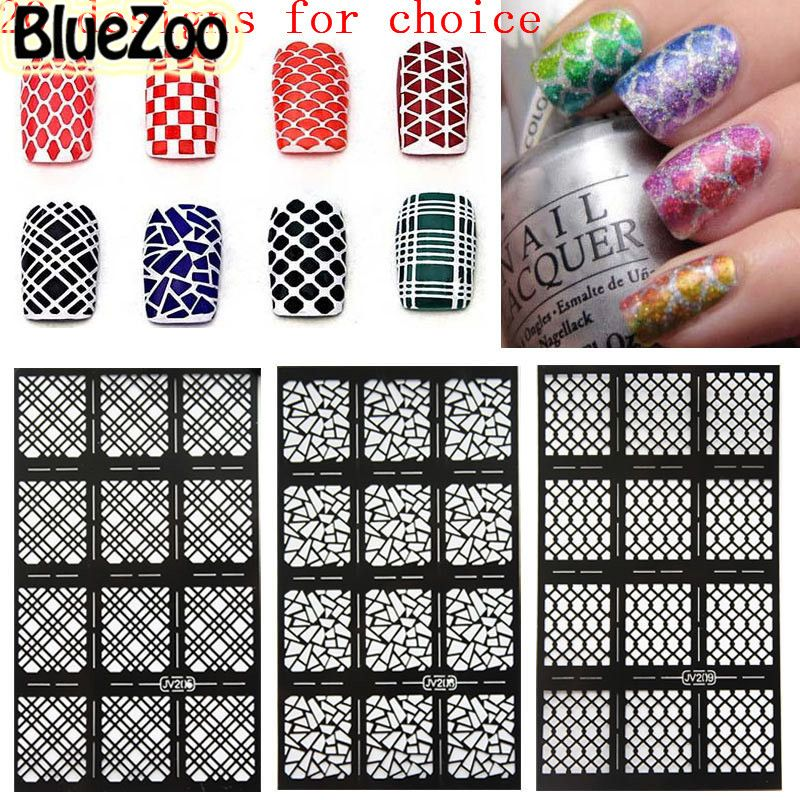 BlueZoo 1pc Nail Template Sticker Hollow Out Nail Art Beauty ...