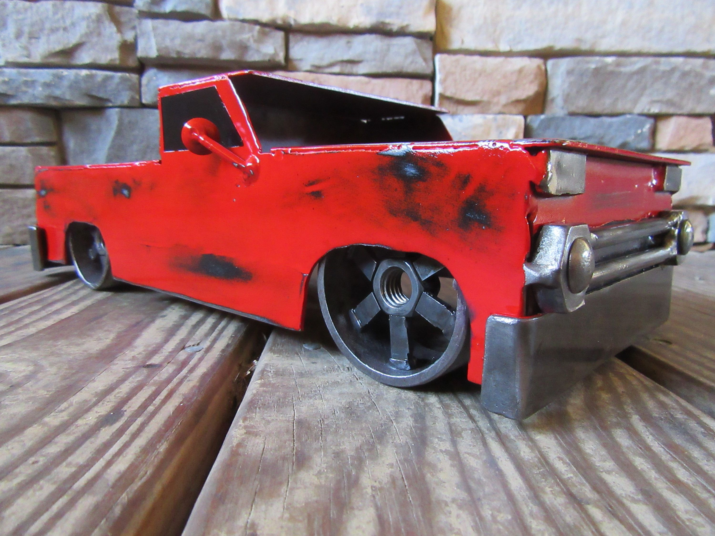 1966 Steel Chevy Truck Handmade Metal Truck Lowrider Welded Art Red Vintage  Truck Mancave Home Decor Gift Hot Rod By MetalDisorder On Etsy