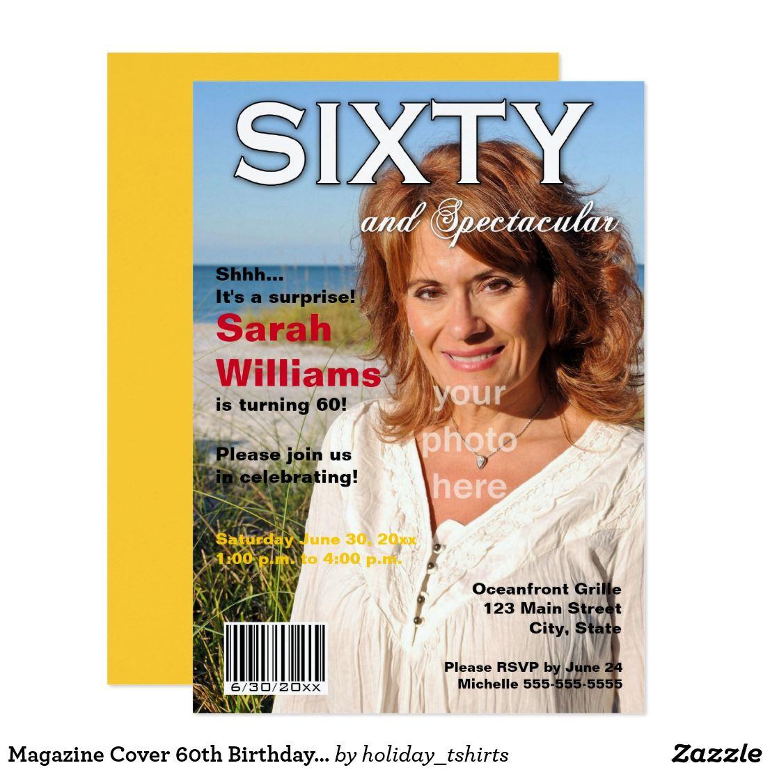 Magazine Cover 60th Birthday Party Invitation | Birthday Invites ...