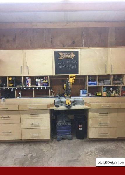 Garage Workshop Clocks And Diy Garage Workbench And Shelves