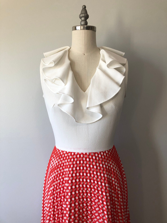 Long Vintage Ruffle Dress White Red Polka Dots 70s Gowns Etsy Silk Dress Vintage Evening Dresses Vintage Elegant Dresses [ 3000 x 2250 Pixel ]