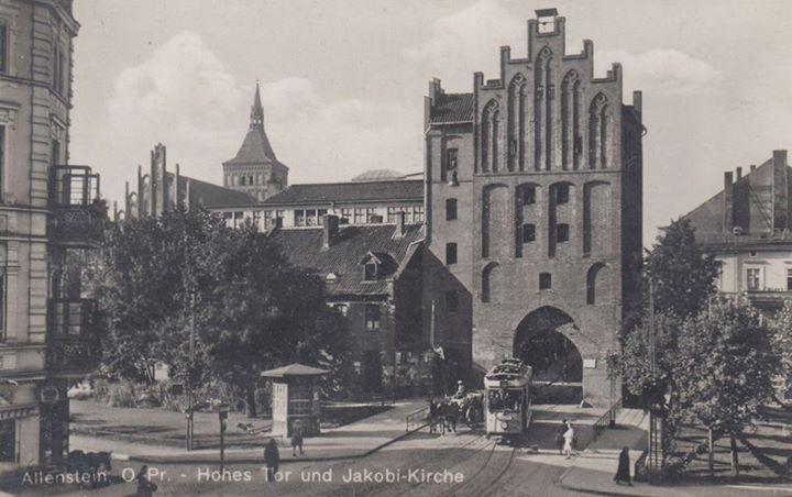 Allenstein, Ostpr. Hohes Tor und Jakobi-Kirche 1935  https://www.facebook.com/lostprussia/photos/a.604935089580733.1073741835.517377898336453/773208756086698/?type=1