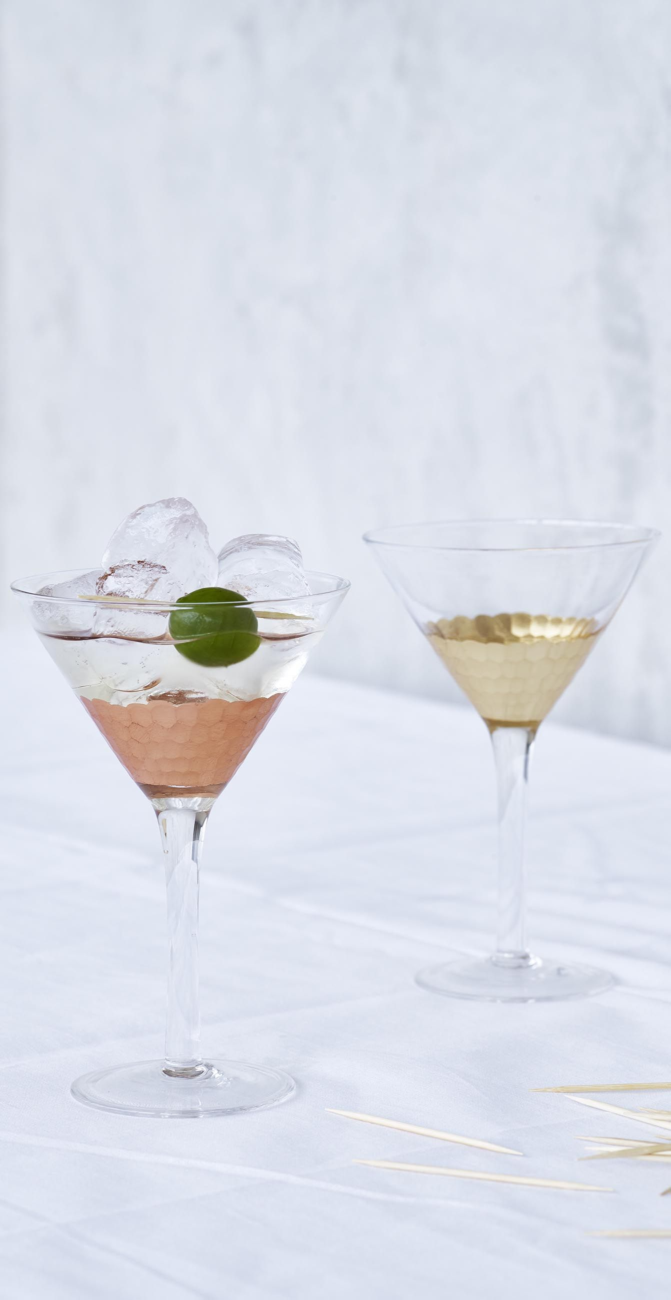Celebrate Happy Hour With This Mixed Metallic Set Of Two Martini Glasses. Awesome Design