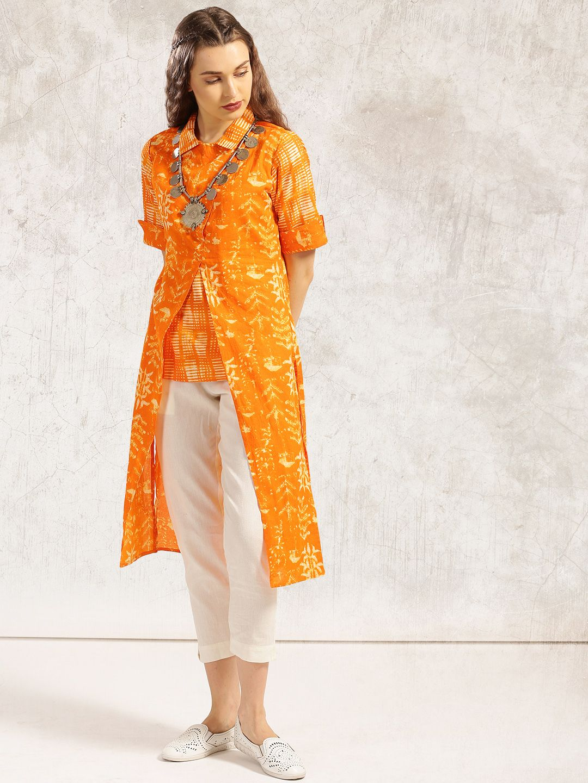 Buy Anouk Orange Printed Straight Front Cut Kurta online