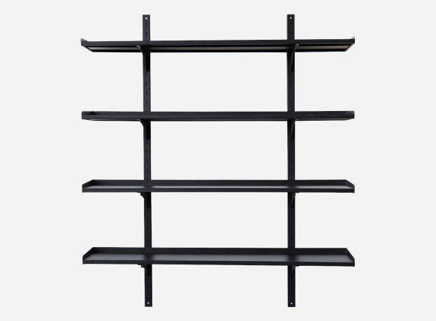 Li1150 - Rack w/ 4 shelves, Hang, matt black, 30x130 cm, h.: 150 cm