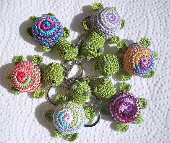 Schildkröte Frühling Gehäkelt Schlüsselanhänger Crochet