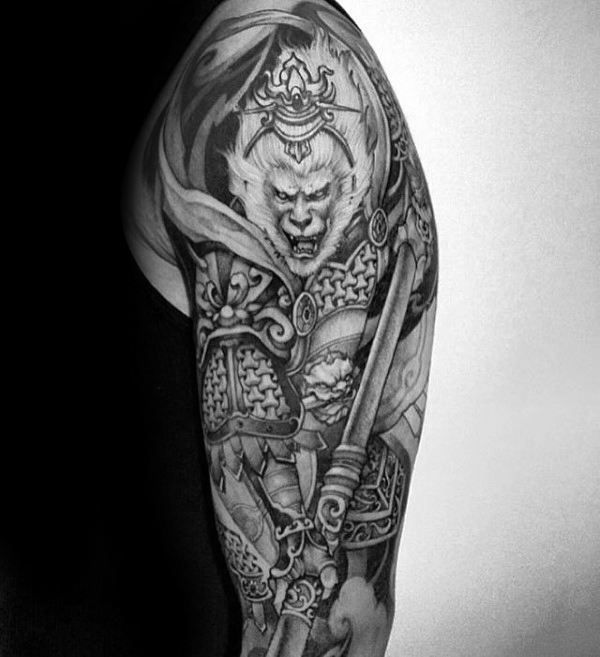 monkey king black and grey ink male shaded half sleeve tattoo design tattoos pinterest. Black Bedroom Furniture Sets. Home Design Ideas