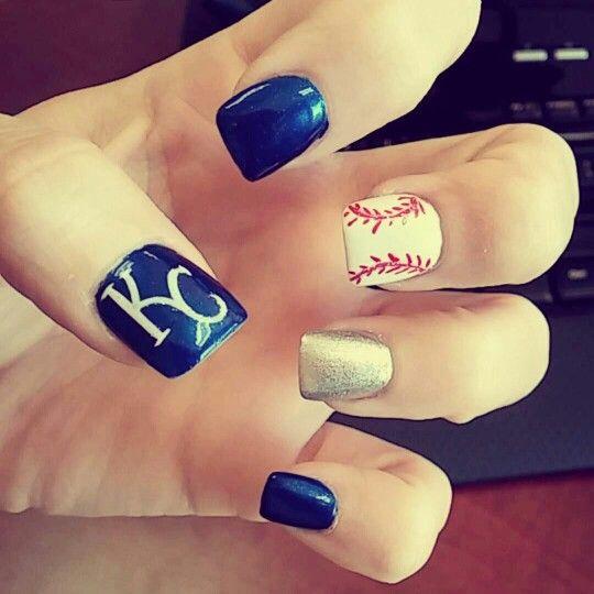 Kc Royals Nail Design Loved Them Nails Toes Pinterest