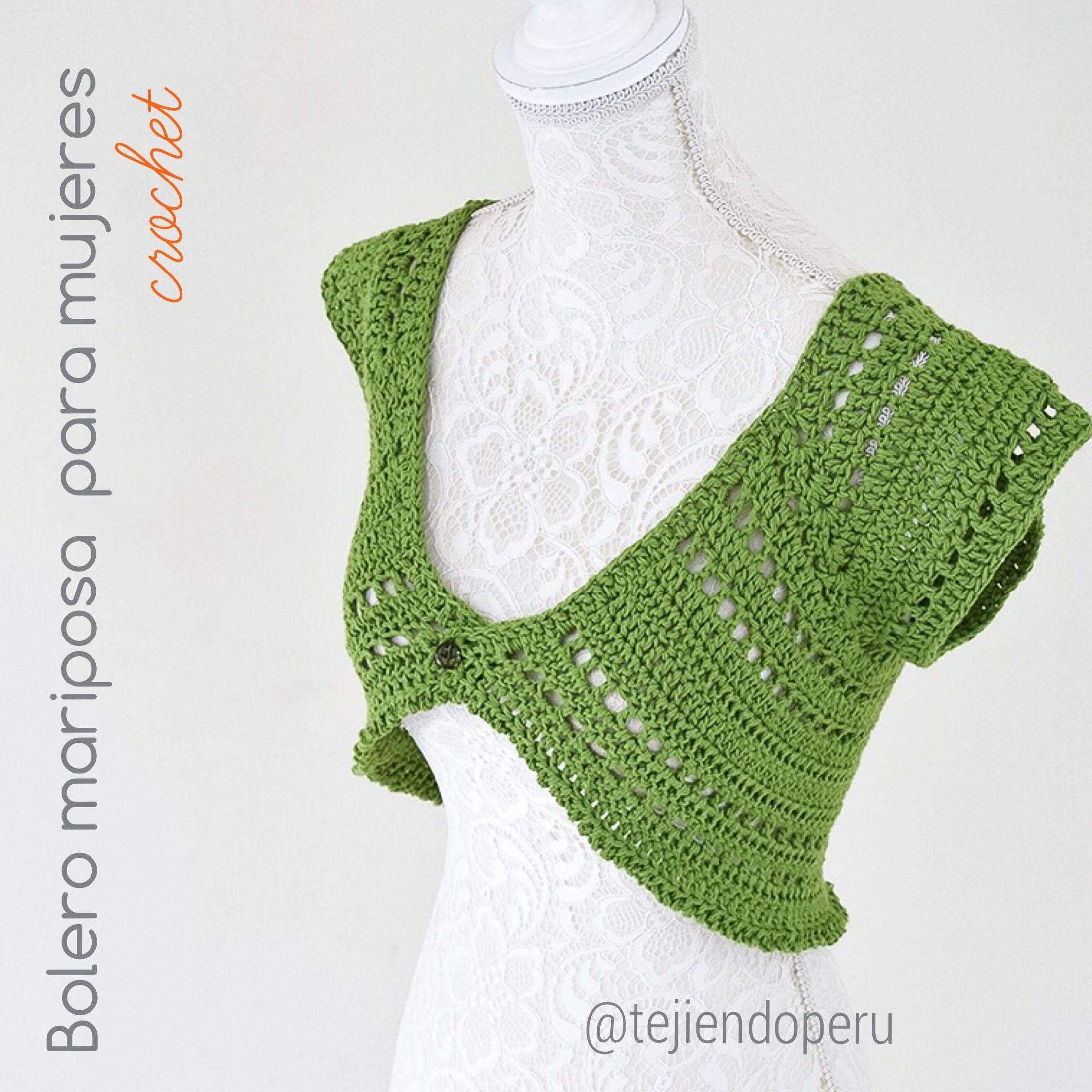 Bolero mariposa tejido a #crochet para damas en 5 tallas: XS S M L ...