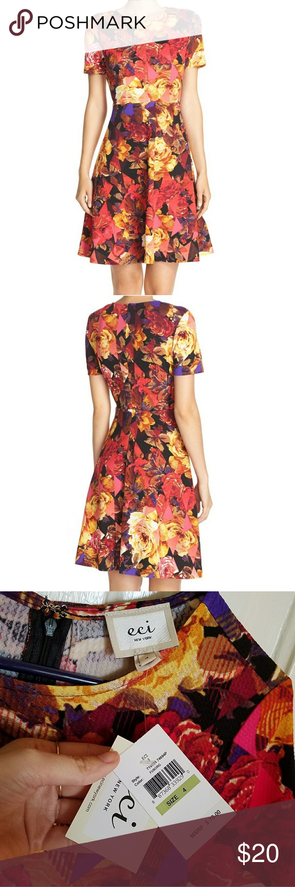 Fit and flare dress Floral fit-and-flare dress by ECI. Abstract floral pattern. Stretchy, lightweight, comfortable material. Hits above knee. Never worn. Size 4, or 34.5/27/37. Can post more photos or measurements if needed. ECI Dresses Mini