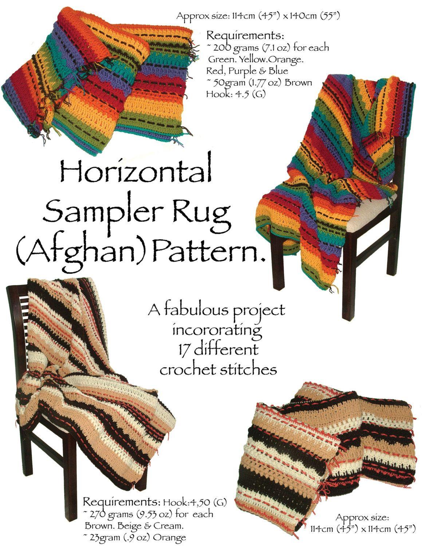 Crochet Pattern Afghan Rug Sampler, Crochet Throw Rug Afghan ...