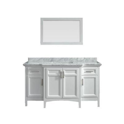 Belle Foret Sassy 60 In. Vanity In White With Marble Vanity Top In Carrara  White