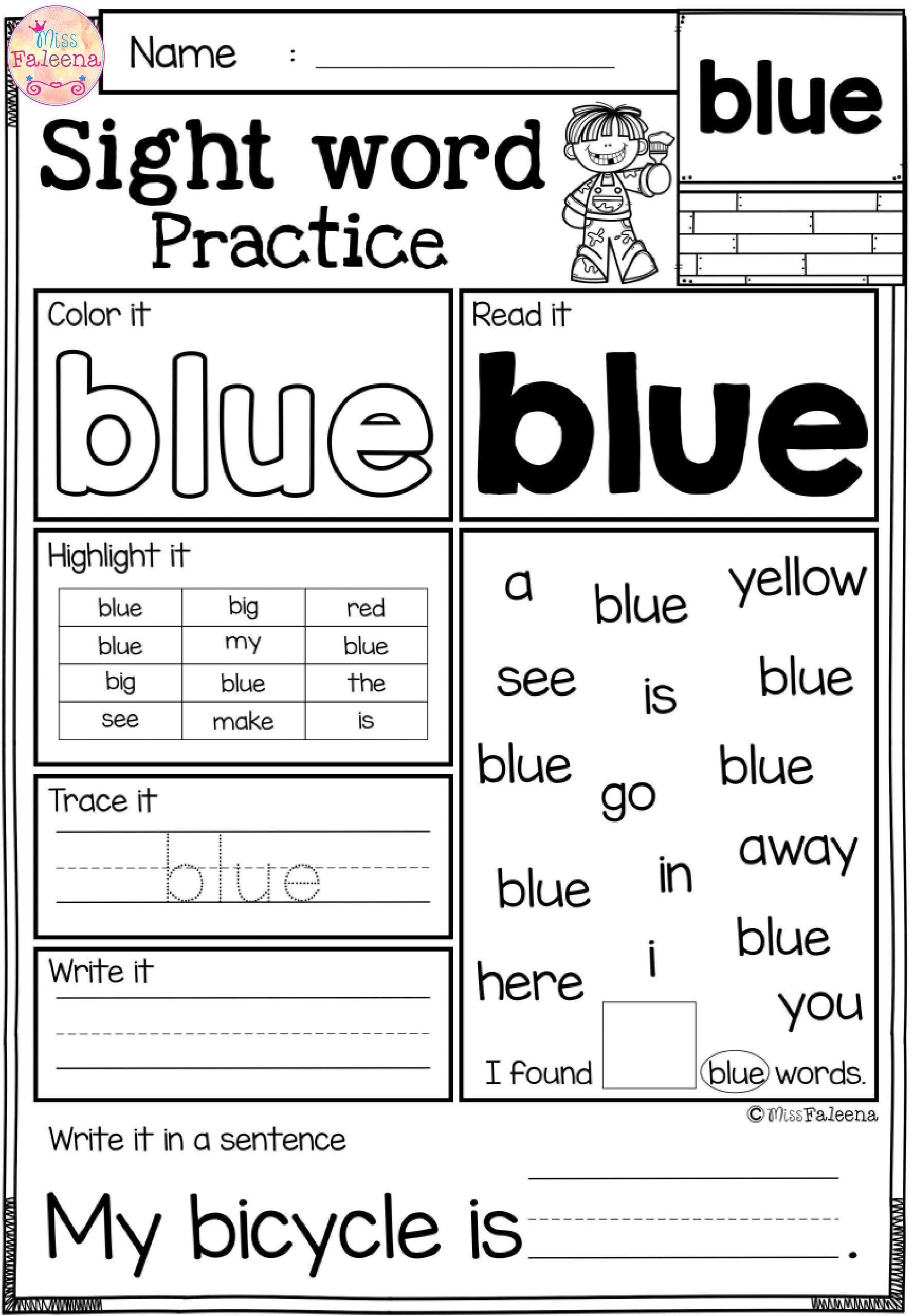 7 Printable Worksheets For Kindergarten Sight Words In