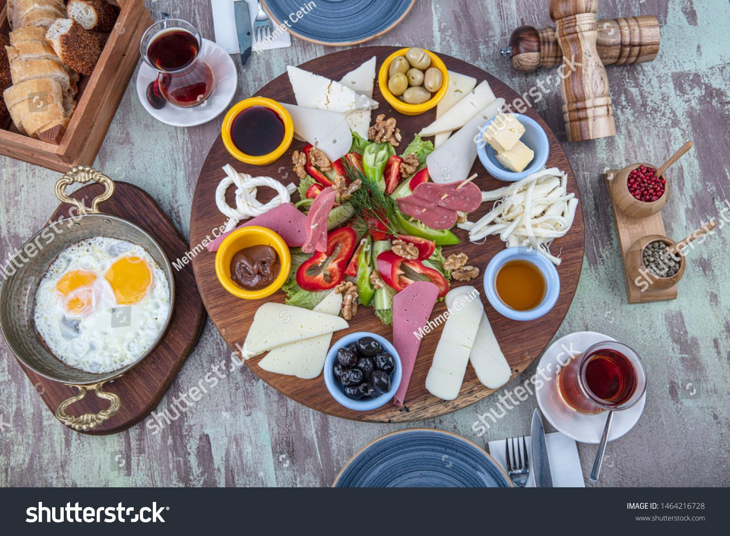 Rich Delicious Traditional Turkish Breakfast On Stock Photo (Edit Now) 1464216728 #turkishbreakfast Rich and delicious traditional Turkish breakfast on a laid table. Spreader breakfast for two. #Sponsored , #ad, #traditional#Turkish#Rich#delicious #turkishbreakfast