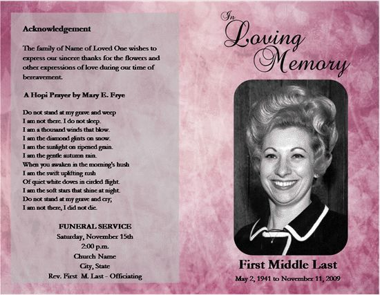 Memorial Service Programs Sample Memorial Service Program For   Free  Template For Funeral Program  Funeral Program Word Template