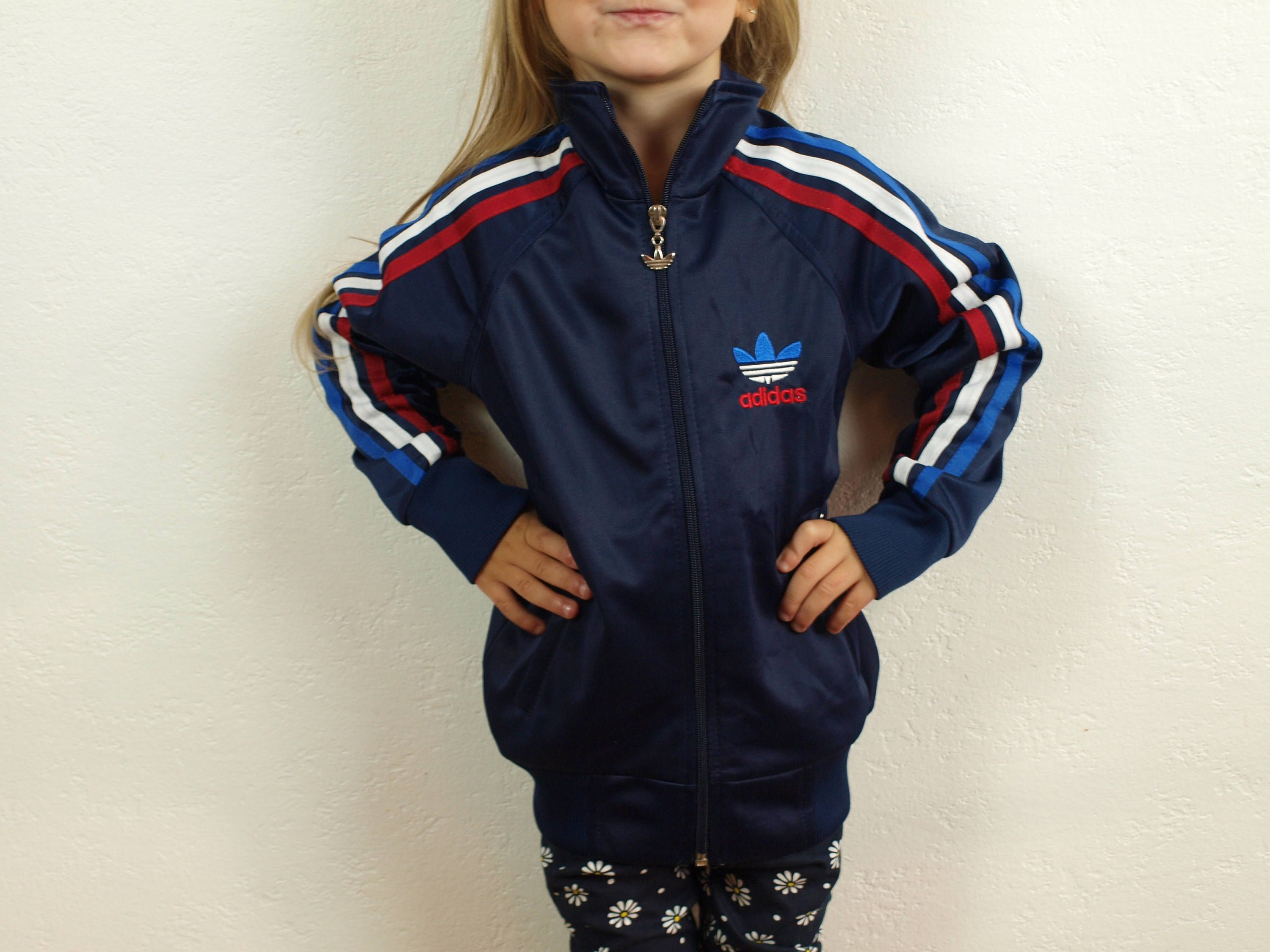 Kid s Adidas jacket, Adidas windbreaker Vintage Adidas navy blue color  three stripes in red, white blue Size 110, 5-6 years 90s Adidas by  SillyPurpleZephyre ... 750ee2d832