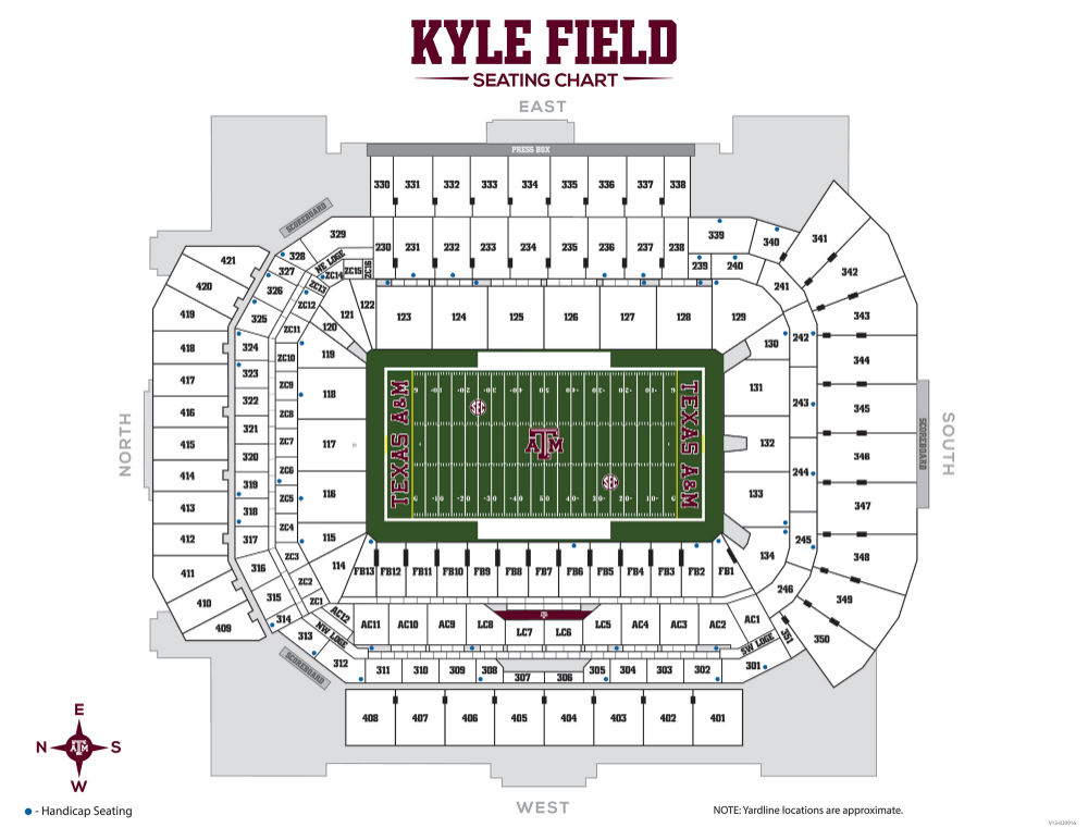 Texas A M Football Gameday 12thman Com Texas A M Football Kyle Field Seating Charts