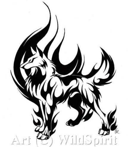 Chien En Flamme Tribal En 2020 Modèle De Tatouage Loup