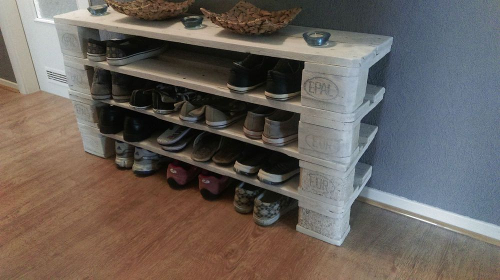 Schuhregal selber bauen europalette  Paletten-Möbel-Schuhregal | artesanatos | Pinterest | Paletten ...