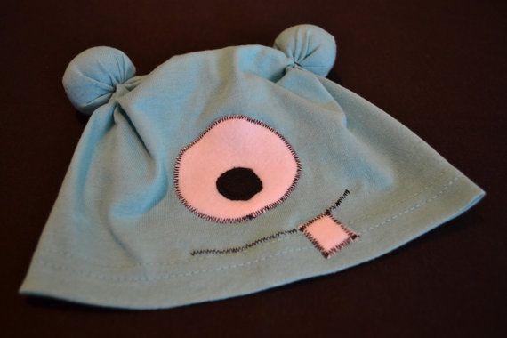 Baby Hat  Aqua Baby Alien tshirt hat  06 months by iHEARTees, $10.00