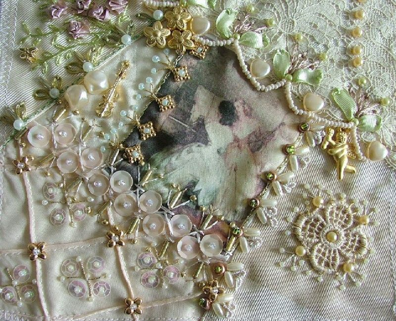 ❤ crazy quilting, beading & ribbon embroidery . . . DYB RR - (Closeup) Victorian Ladies keeps going, I worked on Cathy's lovely block this month. But, unfortunately, I've completed it a little bit late due to some serious family health issues. I enjoyed so much to work on it. I tried to use all soft color threads and silk ribbons. ~By Rengin Ku...