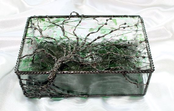 Stained Glass Tree of Life Jewelry Box Glass Box and Stained