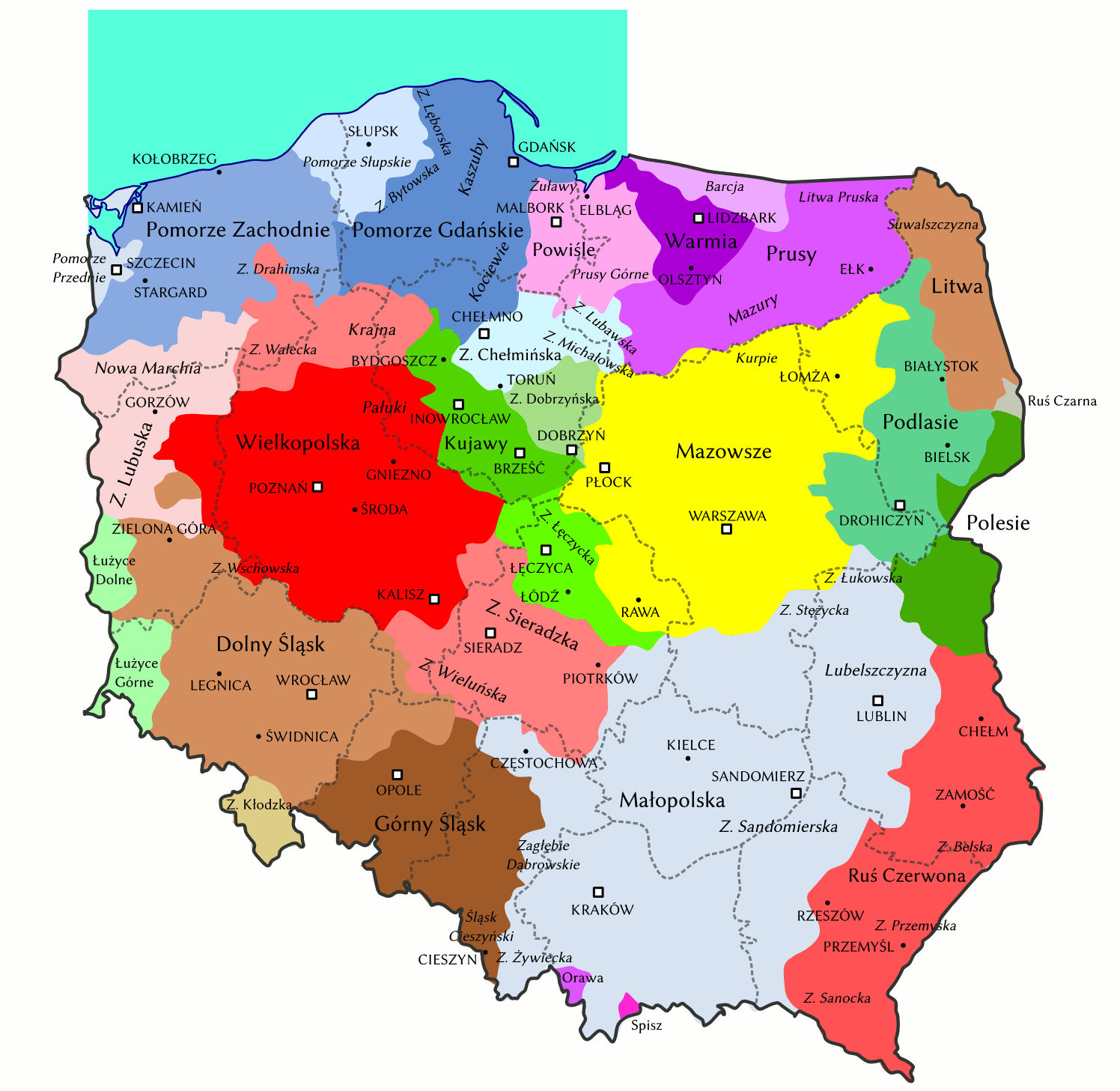 Historical Regions In Poland Historical Maps Poland Poland Map
