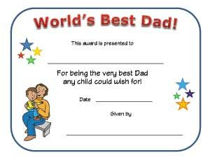 world s best dad certificate father s day crafts pinterest
