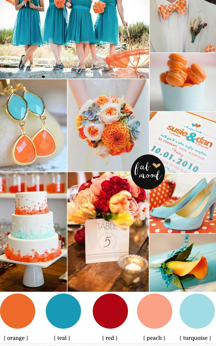 Turquoise And Orange Beach Wedding