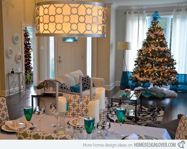 15 Christmas Decorated Living Rooms | Blue christmas, Christmas ...