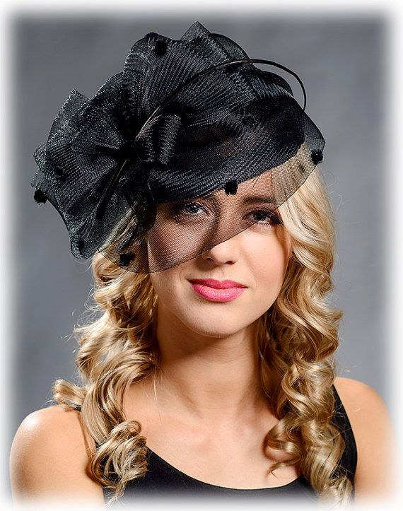 Black elegant cocktail hat funeral hat church hat pillbox 54ef12ff43a