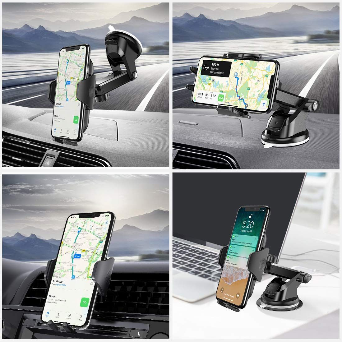 Mpow Car Phone Holder Phone Holder for Car Dashboard Windshield Car Phone Mount with Strong Sticky Pad with One-Touch Design Cell Phone Car Mount Compatible with iPhone 11 Pro X Galaxy Note 10