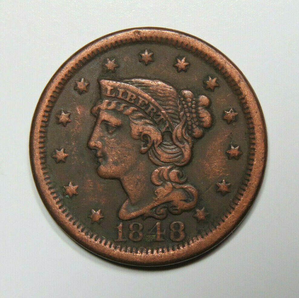 1848 Braided Hair Large Cent Us Coin Braided Hairstyles Coins Braids