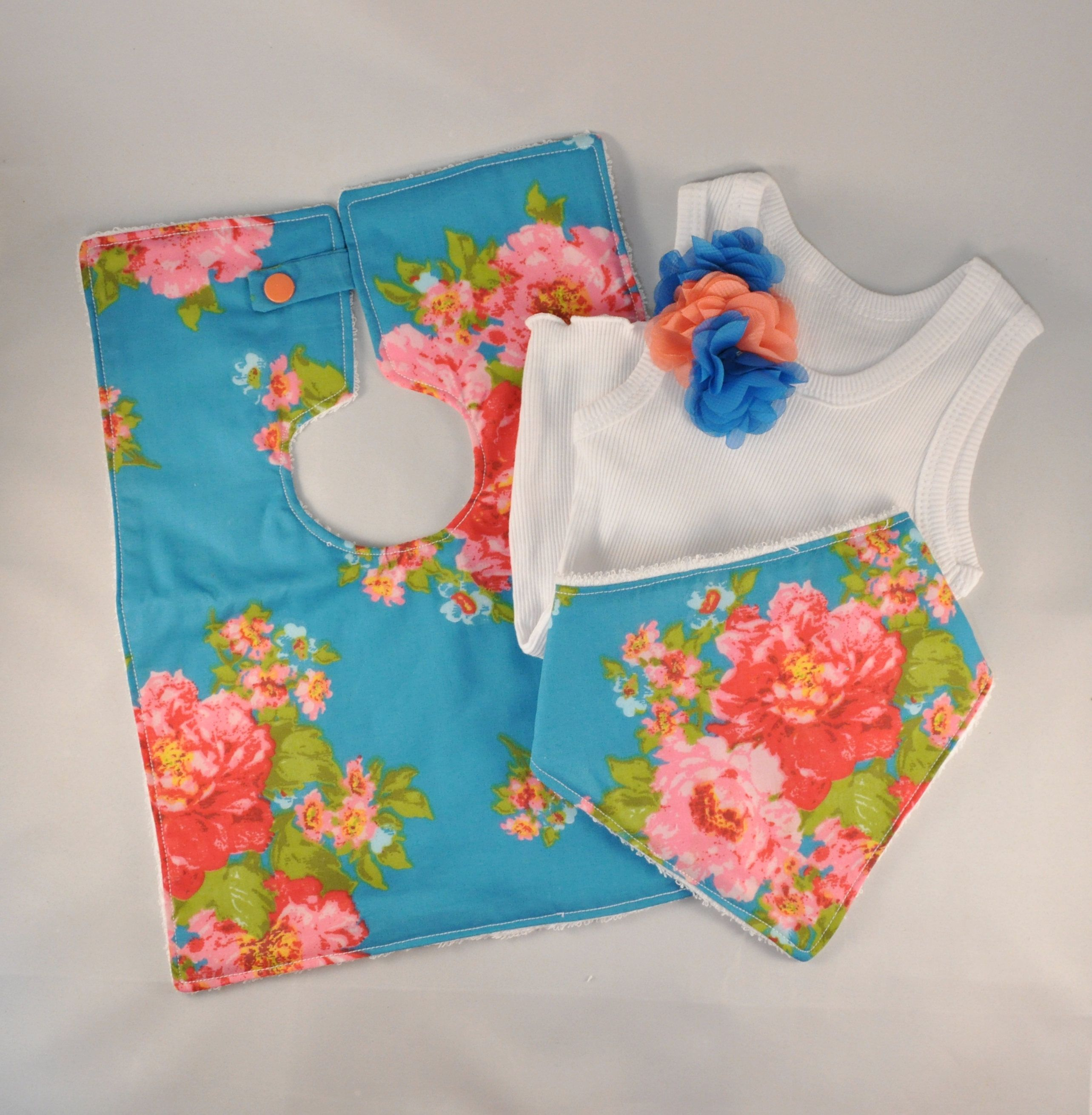 Baby gift set blue floral dribble bib bandana bib flower baby gift set blue floral dribble bib bandana bib flower singlet negle Image collections