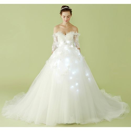 White Short Sleeve Illuminated Modern Formal Wedding Bridal Gown Dress SKU-119038