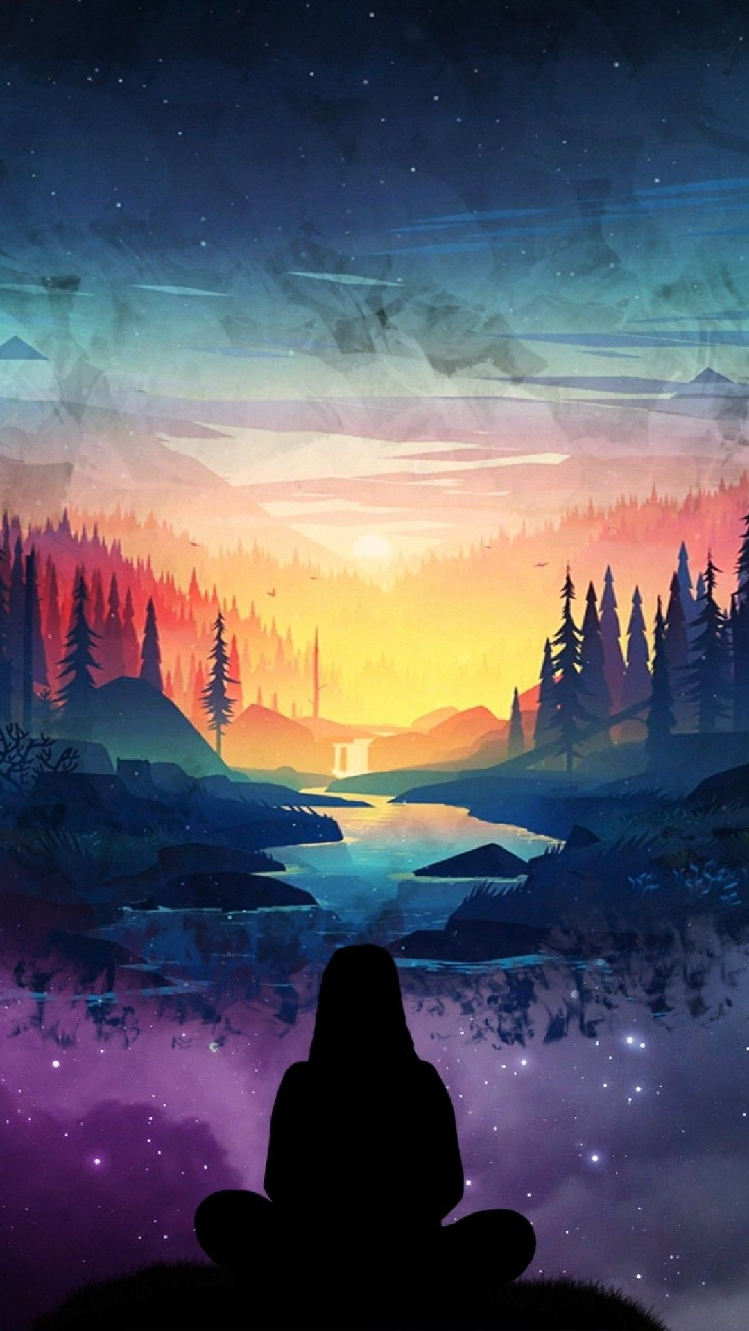 River, Girl, Silhouette, Forest, Scenic, Stars, Two