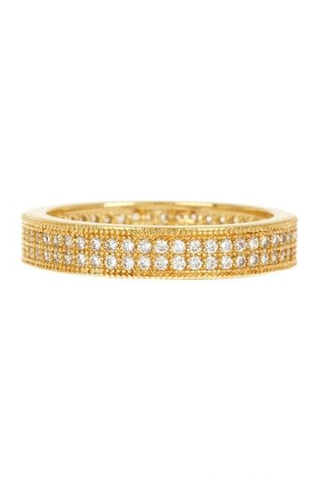 14K Yellow Gold Vermeil Micro Pave CZ Two-Row Band